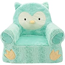 """Sweet Seats Adorable Soft Teal Owl Children's Chair Ideal for Children Ages 2 and up, Machine Washable Removable Cover,14""""L x 19""""W x 20"""" H"""