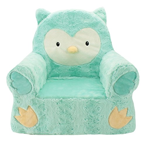 Sweet Seats Adorable Soft Teal Owl Children's Chair Ideal for Children Ages 2 and up, Machine Washable Removable Cover,14