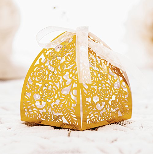 KAZIPA 50pcs Laser Cut Candy Boxes,Gold Favor Boxes 2.6''x2.6''x2.8'', Wedding Favor Boxes for Bridal Shower Anniverary Birthday Party Wedding Favor, (Macaron Favors)