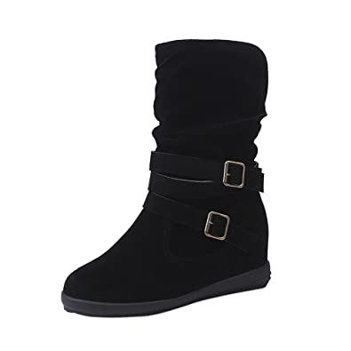 177649e83d1f Boots Women Ladies Womens Low Wedge Buckle Biker Ankle Trim Flat Ankle  Boots Shoes Boots Women