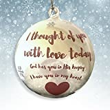 in Loving Memory Ornament - LED Glass Ball Ornament with Candle - Light Up Memorial Keepsake - I Thought of You with Love Today
