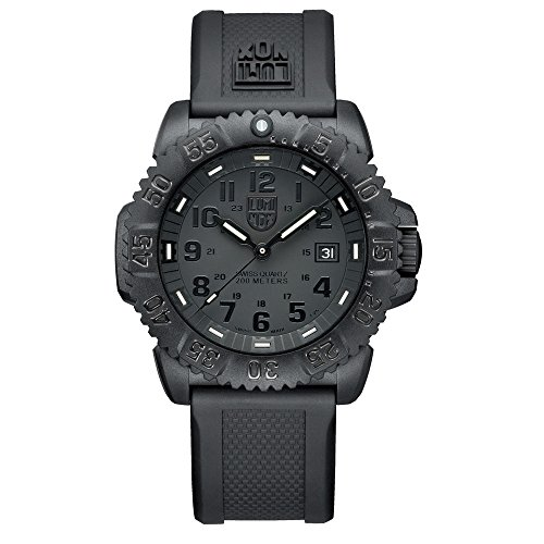 Luminox Men's 3051.BO Navy Seal Colormark 3050 Series, Quartz Movement With Rubber Band, Black Watch (Black Navy Clock Seal)