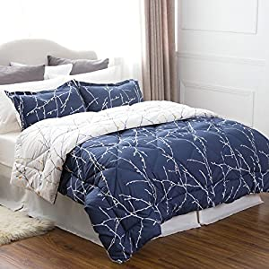 Full/Queen Size 8 Piece BED IN A BAG Navy/Camel Branch Pattern Comforter Set Solid Sheet Set Down Alternative Comforte(88