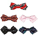 Bundle Monster 5 pc Boys Mixed Pattern Adjustable Elastic Pre-Tied Bow Tie Fashion Accessories - Set 3