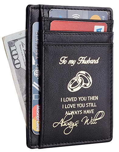 NapaWalli Wife To Husband Gift Best Anniversary Birthday Gifts For Him Genuine Leather RFID Blocking slim Wallet Card Holder (Napa Black W/ Gold Logo)