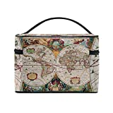 Vintage Old World Map Portable Travel Makeup Cosmetic Bags Toiletry Organizer Multifunction Case