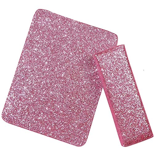 YARUMI Professional Nail Art Hand Pillow with Mat,Shiny Manicure Art Foldable Manicure Table Mat,Salon Nail Polish Arm Rest Holder Sponge Nail Pillow,Beauty Nail DIY Design Manicuring Table Decor,Pink