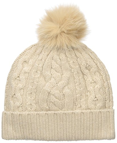 Sofia Cashmere Women's 100% Cashmere Cable Texture Hat with Fox Fur Pom, Oatmeal, One by Sofia Cashmere