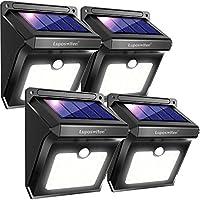 Focos Solares, Luposwiten 100 LED Lámparas Solar Exterior con Sensor de Movimiento, 2000 LM Iluminación gran angular de 125 grados Luz Solares para Jardins, Garaje, Acera, Patio, Sendero(2 Piezas)