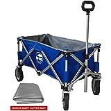 Eurmax Sports Collapsible Sturdy Steel Frame Garden/Beach Wagon/Cart,Bonus 8x8Ft Picnics Mat (Blue)