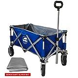 Eurmax Sports Collapsible Sturdy Steel Frame Garden Carts on Wheels Utility Beach Wagon Cart,Bonus 8x8Ft Picnics Mat (BLUE)