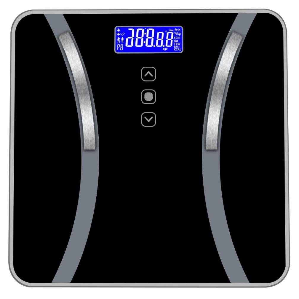 Jeeke Body Fat Scale,Calculation Accurate Measurement 7 Human Data,3 Modes Select,Weighing Range 11-400 Pounds - Ship from USA (Black, 11.8x11.8x1.18inch) by Jeeke