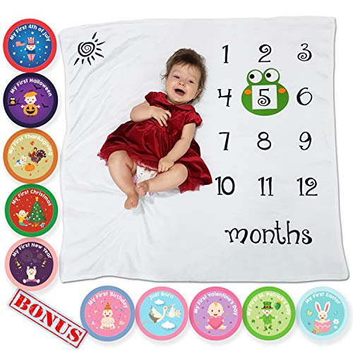 Baby Monthly Blanket and 10 Holiday/Newborn Milestone Stickers - Great Photography Props, Monthly Baby Blanket - Cute Baby Shower Gift for Boys, Girls - Funny Frog Felt Frame Inside
