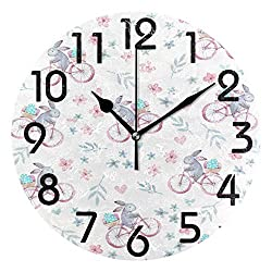 Dozili Easter Style Cute Bunny Ride on Bicycle with Eggs Round Wall Clock Arabic Numerals Design Non Ticking Wall Clock Large for Bedrooms,Living Room,Bathroom