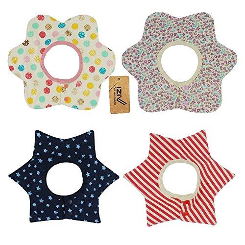 iZiv(TM) Baberos del Bebé - Paquete de 4 Diseños con 4 Capas Impermeables para niño 0-3 años (Color-8) Color-6