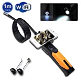 WF200 2.0 Megapixels 720P WIFI Wireless Endoscope Borescope Inspection Display Monitor Cam Flexible 1M Video Tube Cable with 8.5mm diameter IP67 Waterproof 6 LED Camera Head