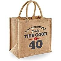 40th Birthday Keepsake Gift Vintage Jute Bag for Women Novelty Shopping Tote