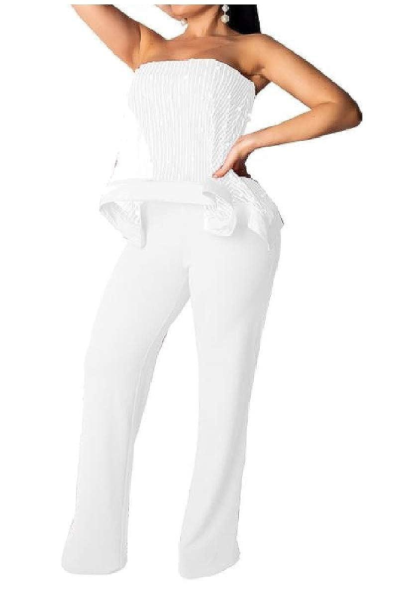 Winwinus Womens Party Pearl Nightclub Shoulder Off Mesh OL Jumpsuit Trousers