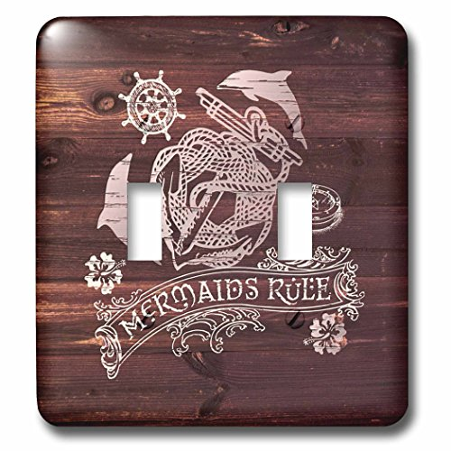 3dRose Russ Billington Nautical Designs - Mermaids- White Anchor Design on Brown Weatherboard- not real wood - Light Switch Covers - double toggle switch (lsp_262166_2)