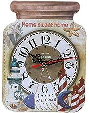 CLISPEED ساعة خشبية صامتة شكل زجاجة كلوك النمط الأوروبي بدون بطارية منزل ساعة معلقة للمنزل بار مقهى فندق (2 ملونة)