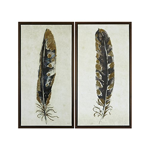 Urban Habitat Gilded Feathers Framed Canvas Wall Art 16.75X31.75 2 Piece Multi Panel, Global Modern/Contemporary Wood Hand Embellished Wall Décor ()
