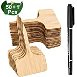 Whaline 50Pcs Bamboo Plant Labels with A Marker Pen, Eco-Friendly T-Type Wooden Plant Sign Tags Garden Markers for Seed Potted Herbs Flowers Vegetables (6 x 10 cm)