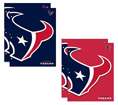 Houston Texans NFL 2-Pocket School Folders, 4 Pack, 9.5