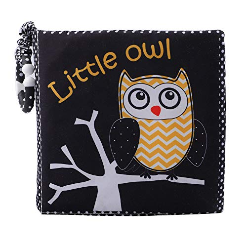 Little Owl Baby Cloth Book, Soft Book for Infant, 1 Year Old & Toddler, Early Educational Toy, Touch and Feel Activity, Crinkle Pages