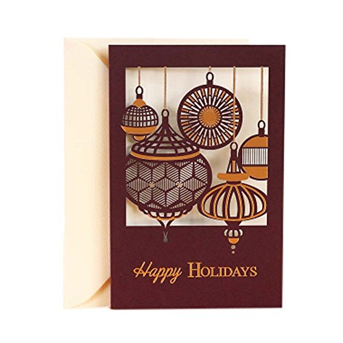 3 Pcs Simple Vintage Art Christmas Cards Blessing Festival Card with Envelope, F (Xmas Charity Ecards)