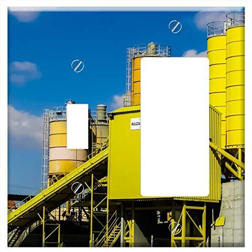 1-Toggle 1-Rocker/GFCI Combination Wall Plate Cover - Concrete Plant Ready-Mix Concrete Batching Pl ()