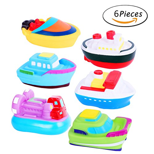 Bath Toys Bathtime Soft Rubber Floating Boat Squirting Set for Toddlers & Kids – 6 pc Squirts Bath Toys For Kids Bathtub Time - Fun & Educational