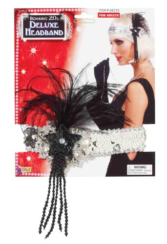 Black And Silver Sequin Flapper Costumes (Forum Novelties Roaring 20's Sequin Flapper Headband with Feather, Silver, One Size)