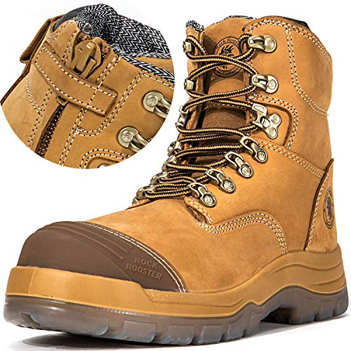 - ROCKROOSTER Men's Work Boots, Zipper, Steal Toe, Antistatic, Safety Leather Shoes, Pull On Water Resistant,Width EEE-Wide (AK232Z, US 8.5)