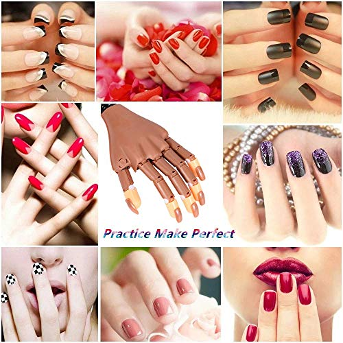 Nail Train Practice Hand for Acrylic Nails-Flexible Moveable Nail Trainning Practice Hand Kits, False Fake Mannequin Hands For Nails Practice DIY Print Practice Tool with 100 PCS Fake Nail Tips