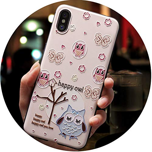 Cute 3D Emboss Cartoon Patterned Phone Case for iPhone X 8 7 6 6S Plus Cases Soft Silicone Cover for iPhone 5 5s SE Coque,Happy owl,for iPhone 7 Plus