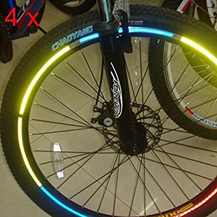 Bazaar 4pcs llantas de bicicleta de la bici pegatinas reflectantes luminosa