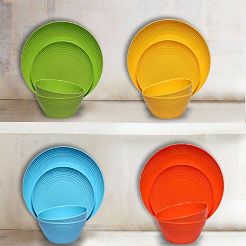 Melange 6-Piece  Melamine Dinner Plate Set (Solids Collection )   Shatter-Proof and Chip-Resistant Melamine Dinner Plates   Color: Multicolor by Melange (Image #5)