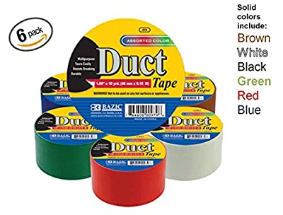 "Bazic 1.88"" X 10 Yard Solid Colors Duct Tape, Assorted Colors, Pack of 6"