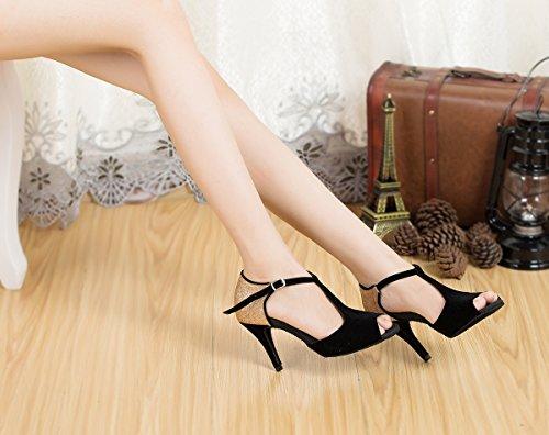 Miyoopark Femmes T-sangle Talon Haut Talon Daim Latin Tango Chaussures De Danse Femmes Sandales De Soirée Noir / Or-8.5cm Talon