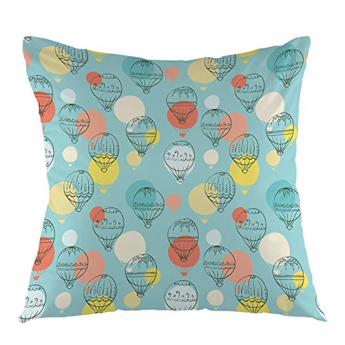 oFloral Home Decorative Doodle Air Balloon Throw Pillow Case Square Cushion Cover for Sofa Couch Bedroom Living Room Dorm Decoration 18 x 18 Inch - Air Balloon Pillow Hot