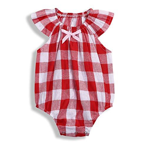 Newborn Baby Romper Sleeveless Bodysuits Cotton Woven Plaids Checks Jumpsuit Summer Outfits Clothing (12-18 Months, -