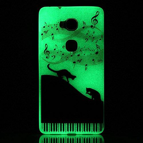 [Extremadamente Delgada] Funda 3D Silicona Transparent para Huawei Honor 5X , Funda TPU Ultra Slim para Huawei Honor 5X , TOCASO Case Fina Slim Fit Cristal Clear, Noctilucent Cover Glittering Bling Cu Piano y Gatos