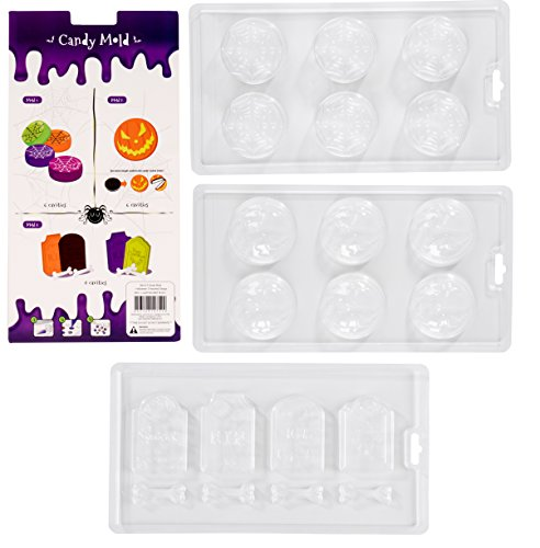 Halloween Chocolate Candy Molds - 3-Pack Decorating Molds for Halloween Parties, Holiday Theme Molds for Chocolate, Gummy Candy, Jello, Assorted Designs Including Spider Web, Pumpkin, -