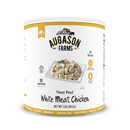 - Augason Farms Freeze-Dried White Meat Chicken 100% Real Precooked Chicken Long-Term Food Storage Large Can