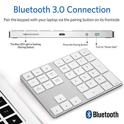 Wireless Numeric Keypad, JOYEKY Aluminum Bluetooth Number