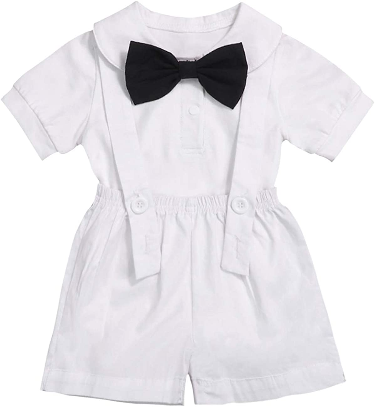 Baby Boy Gentleman Outfits Suits Infant Short Sleeve Romper Bib Pants Bow Tie Overalls Clothing Set
