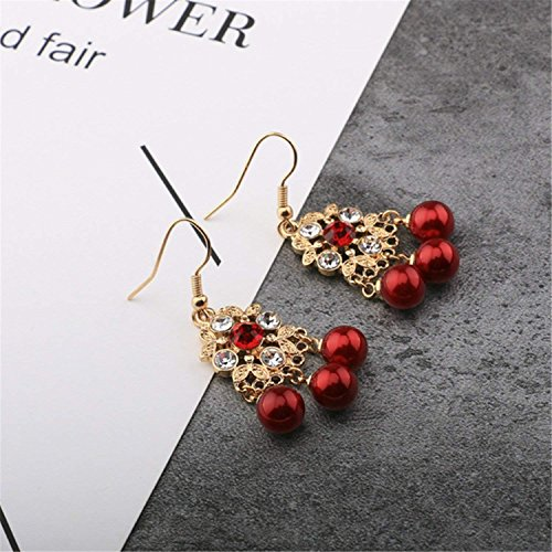 LeNG Earrings For Women NEW Classical Ear Stud With Red Pearl Round Shape Earrings Fine Jewelry EH007,Aspicture by LeNG Earrings (Image #4)