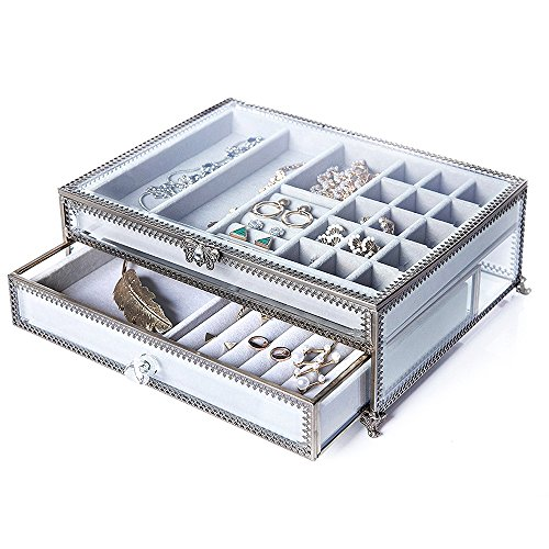 (PuTwo Jewelry Boxes 22 Sections Metal Glass Jewelry Organizer Velvet Jewelry Tray Jewelry Box)