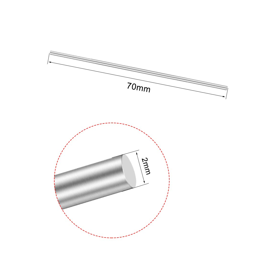 uxcell 1Pcs Stainless Steel Shaft Round Rod 70mmx2mm for DIY Toy RC Car Model Part a18050900ux0251