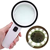 Botrong 30X High Power Handheld Magnifying Glass Led Light Jumbo Illuminated Magnifier